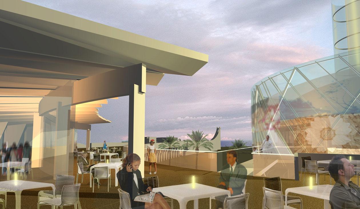 Perspective du roof top - Concours pour la réhabilitation du Point Zero à La Grande Motte - TAUTEM Architecture