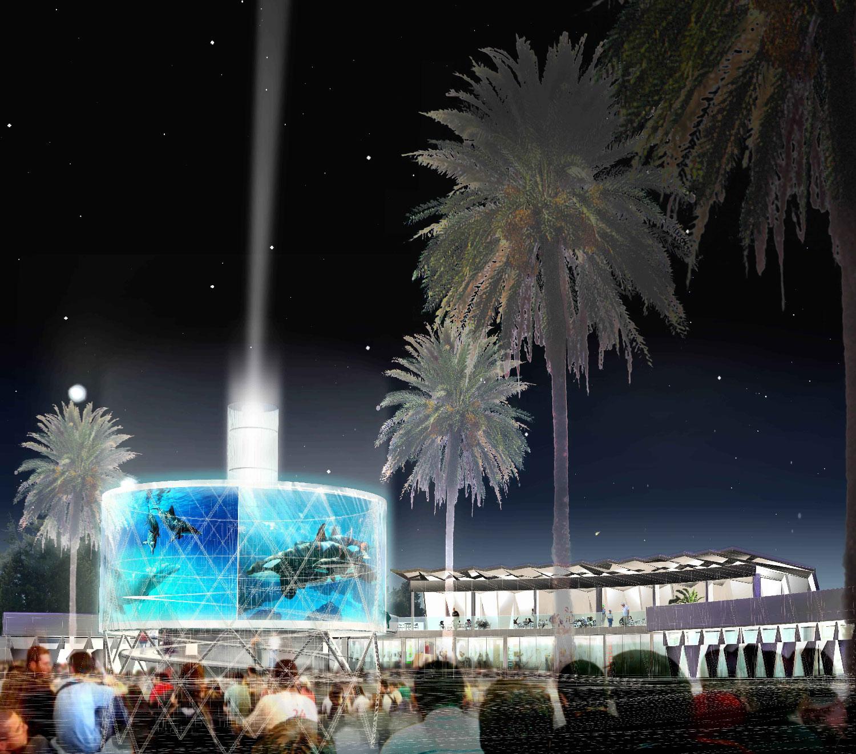 Perspective  de nuit - Concours pour la réhabilitation du Point Zero à La Grande Motte - TAUTEM Architecture