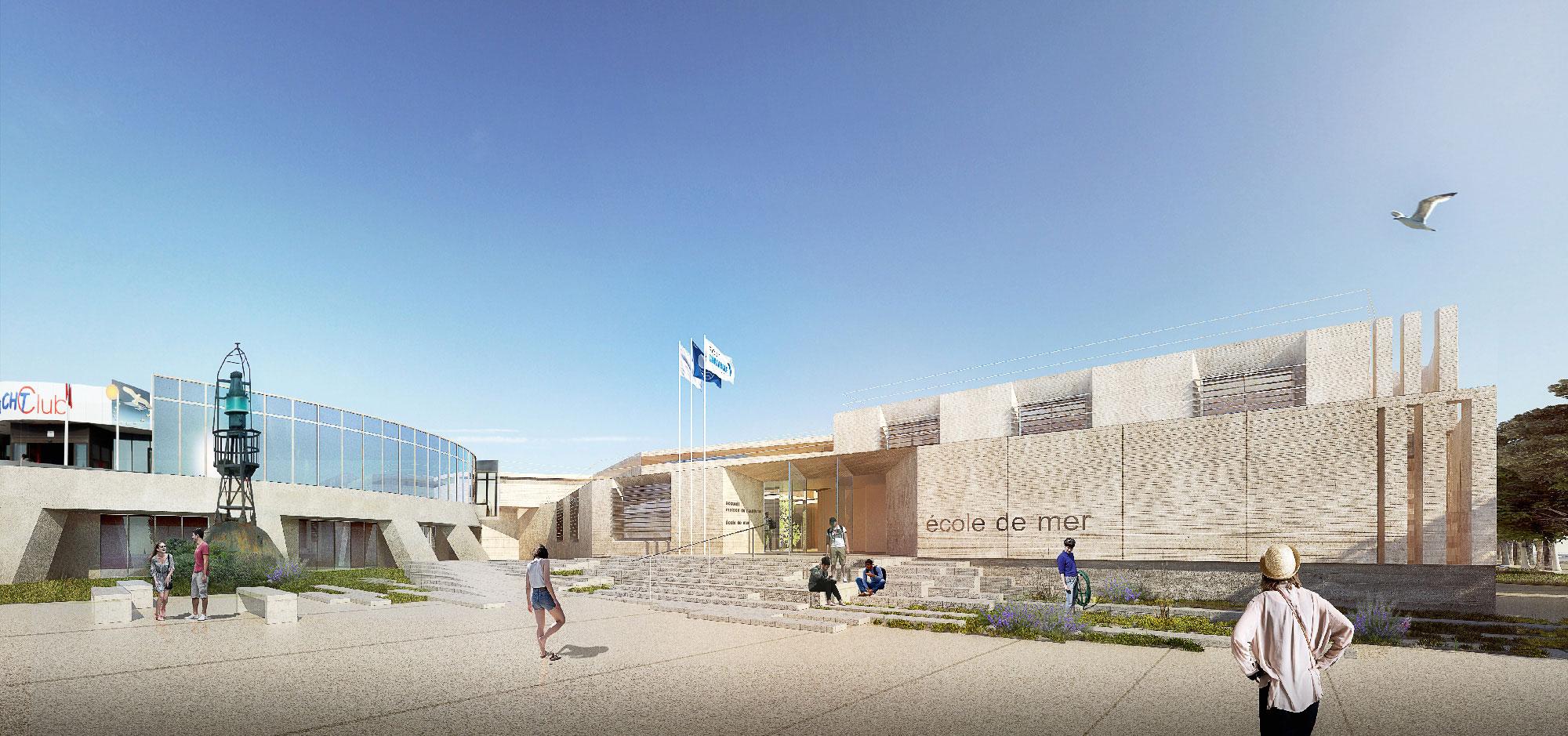 Perspective pour le projet de réhabilitation et d'extension de l'Ecole de mer de Port Camargue - TAUTEM Architecture - entrée
