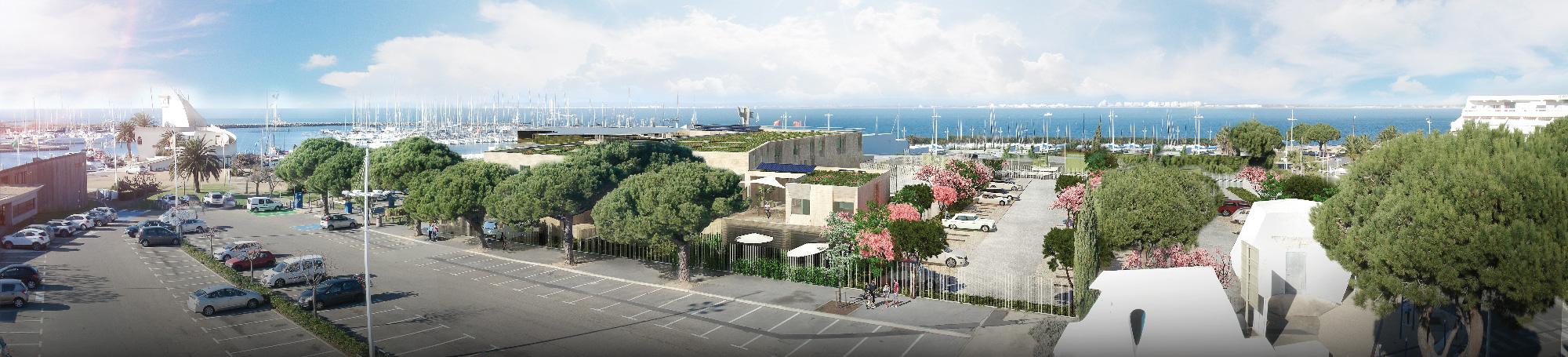 Perspective pour le projet de réhabilitation et d'extension de l'Ecole de mer de Port Camargue - TAUTEM Architecture - vue aérienne