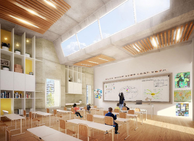 Salle de Classe - concours architectural pour la réalisation d'un groupe scolaire à Montpellier Port Marianne - Tautem architecture