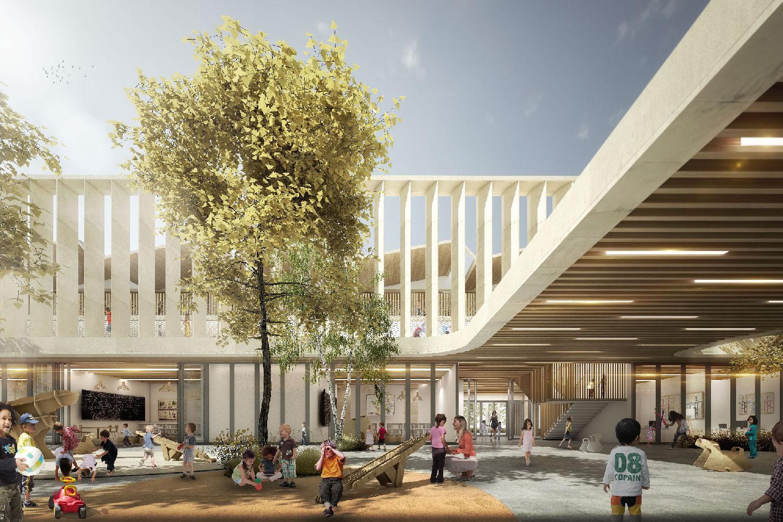 Cours d'école - concours architectural pour la réalisation d'un groupe scolaire à Montpellier Port Marianne - Tautem architecture