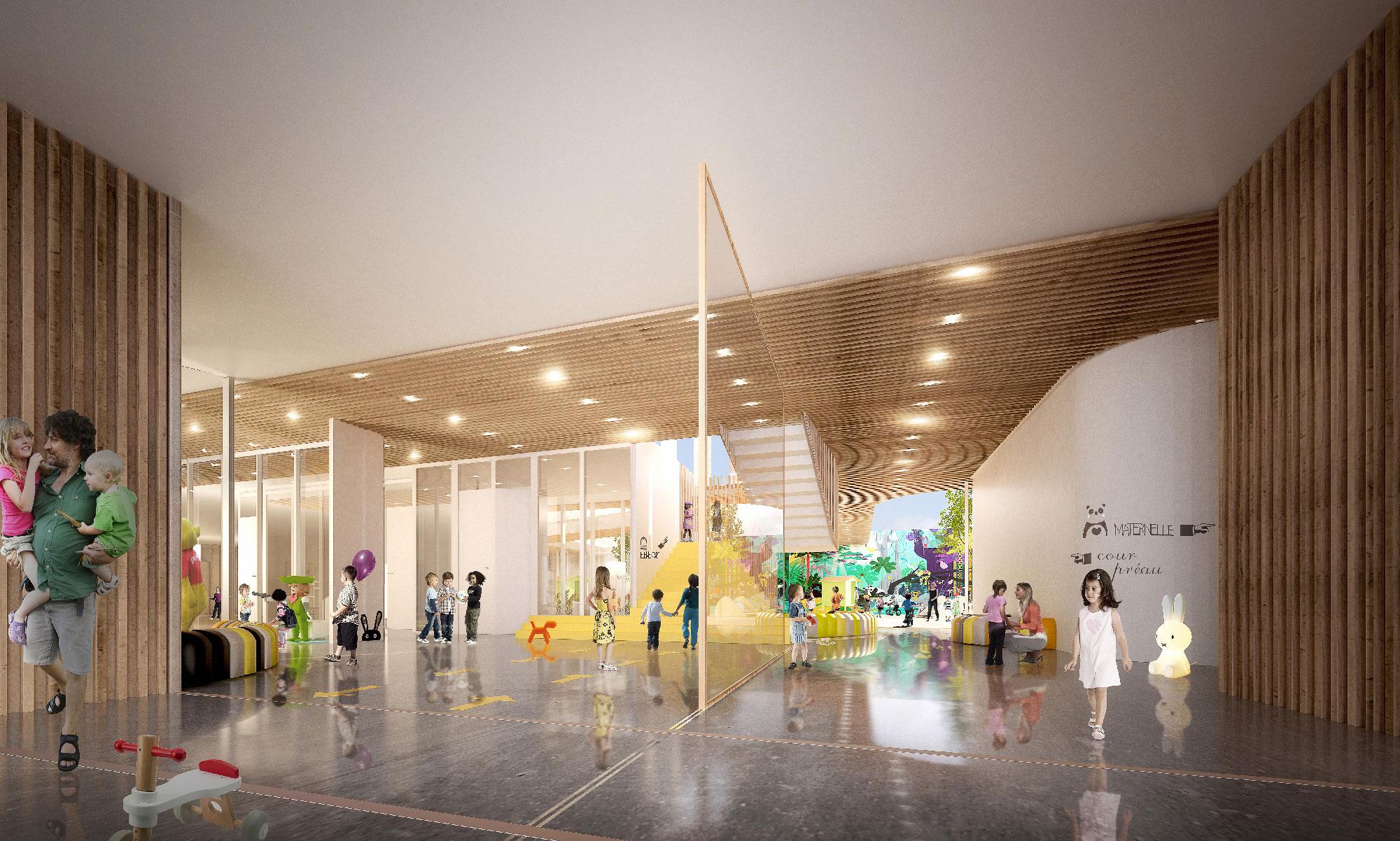 Hall - concours architectural pour la réalisation d'un groupe scolaire à Montpellier Port Marianne - Tautem architecture