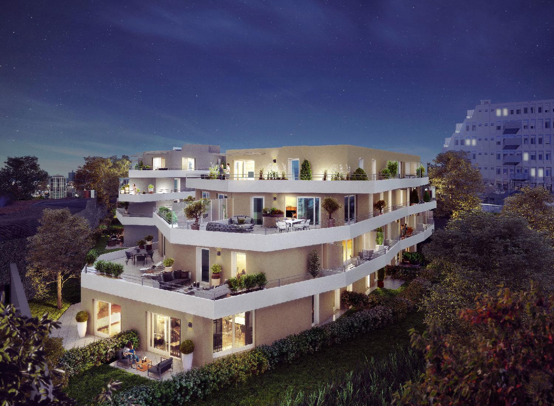Perspective de la résidence Iconium à Nîmes - vue de nuit - Icade - TAUTEM Architecture