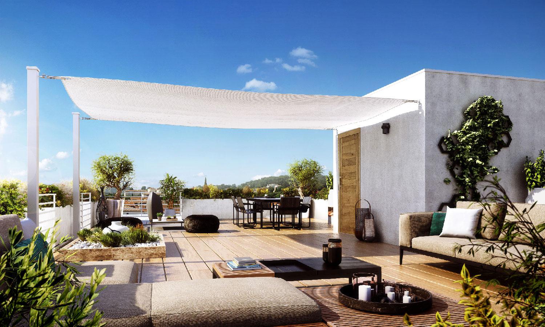 Perspective de la résidence Iconium à Nîmes - Rooftop - Icade - TAUTEM Architecture