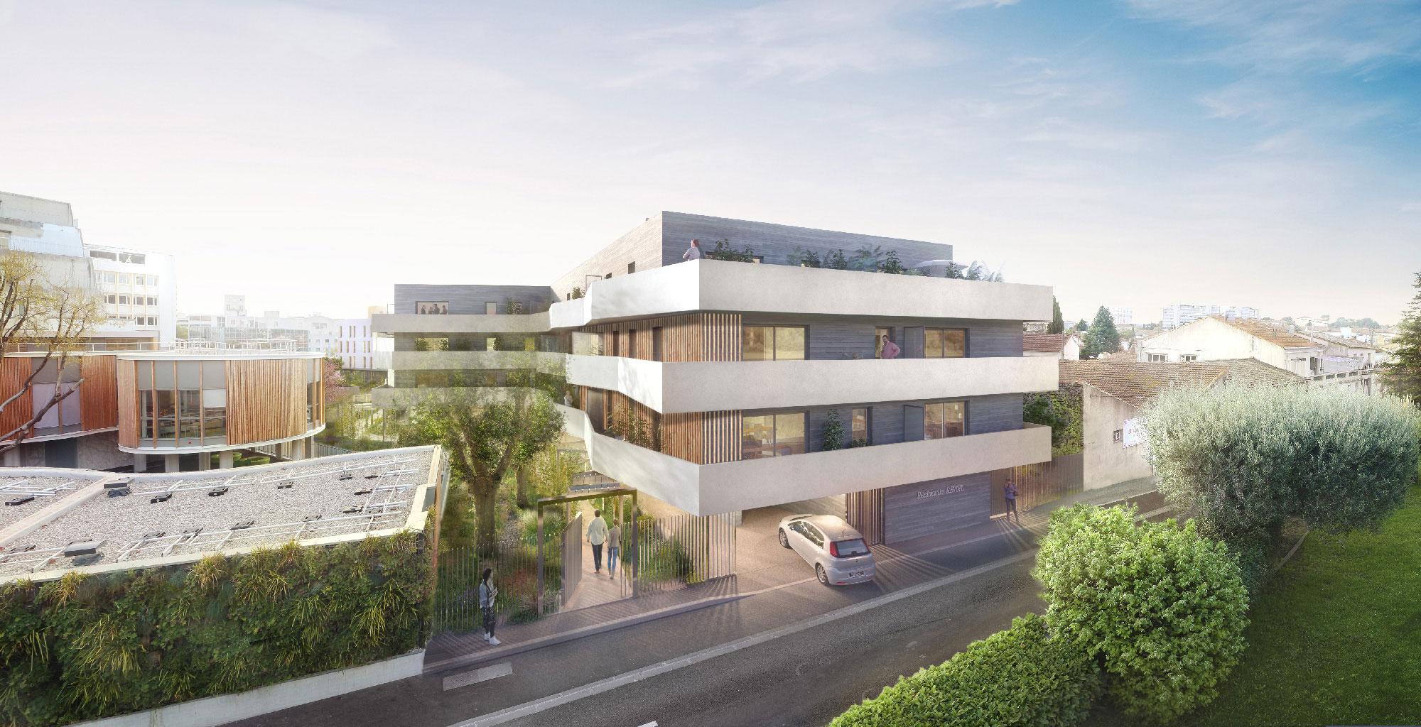 Perspective de la résidence Iconium à Nîmes depuis la rue Révoil - Icade - TAUTEM Architecture