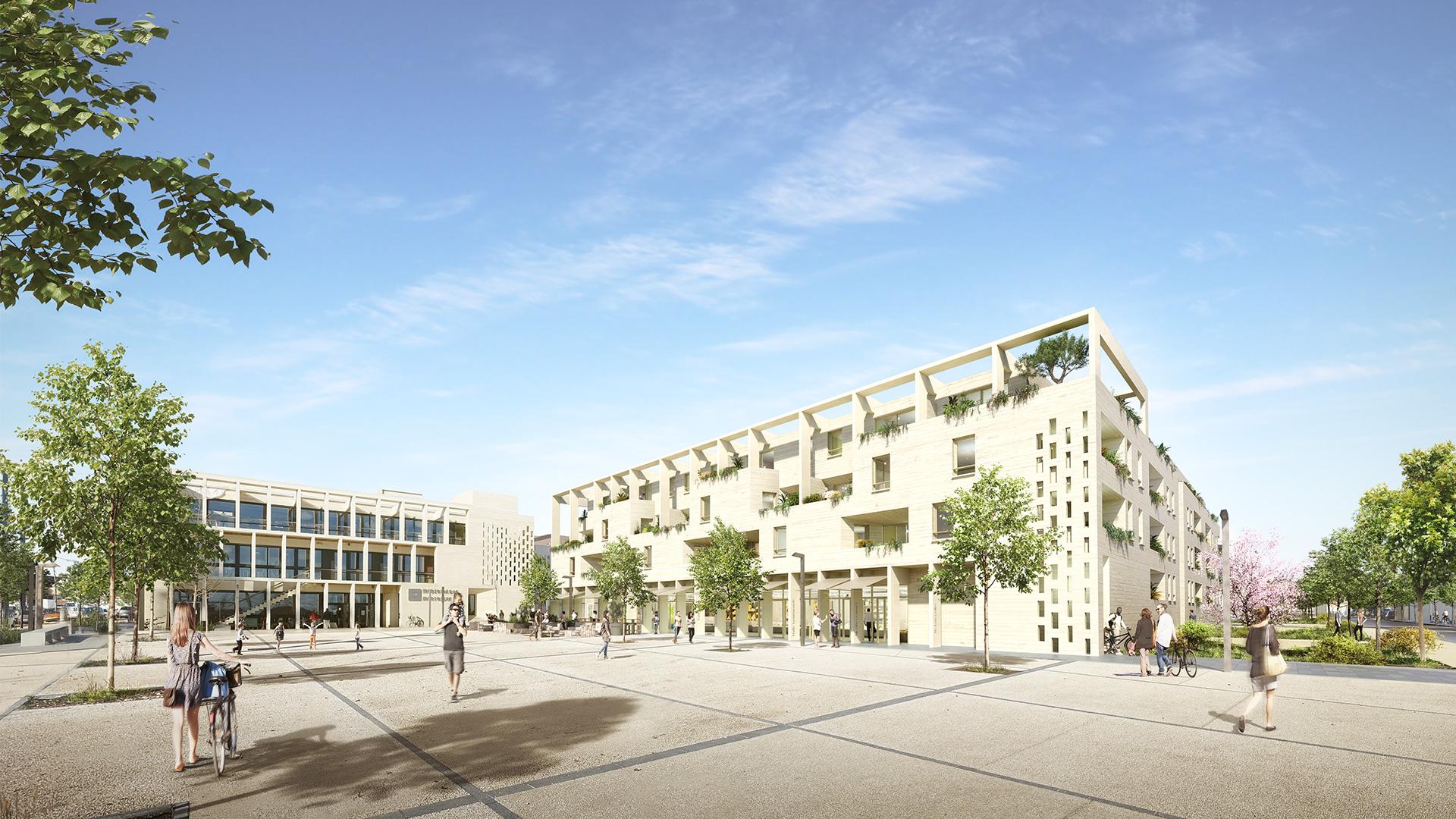Perspective - résidence de logements à Frontignan - ZAC des Pielles - TAUTEM architecture