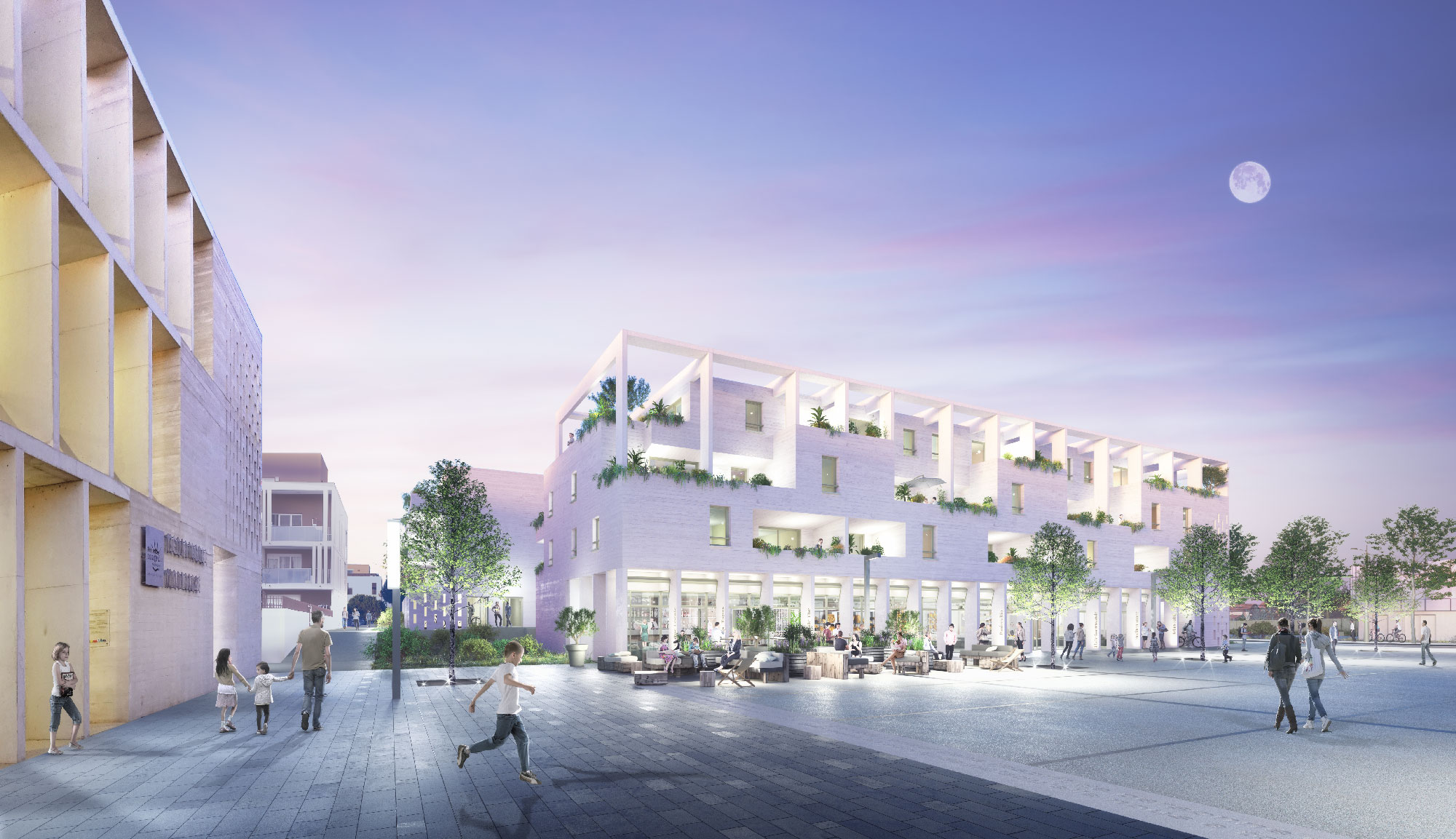 Perspective de nuit du projet de logements - ZAC des Pielles - Frontignan - TAUTEM Architecture