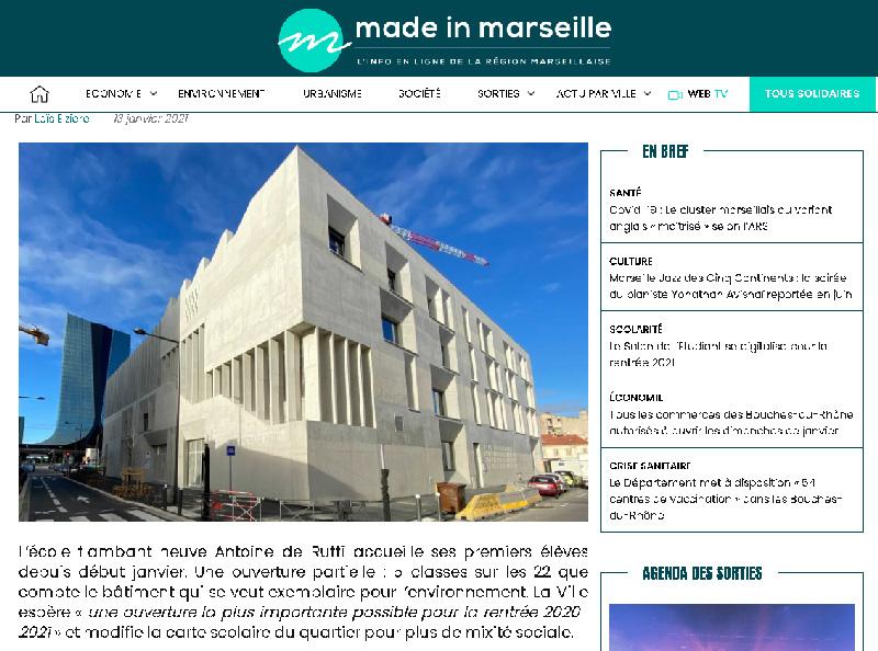 TAUTEM Architecture - Groupe scolaire Antoine de Ruffi - Article Made in Marseille 13 janvier 2021