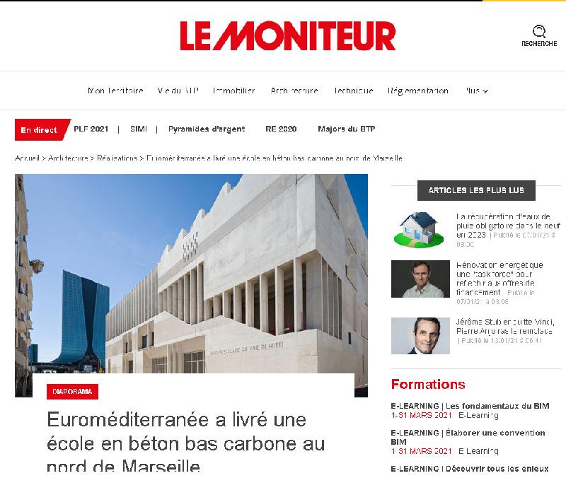 Groupe scolaire Antoine de Ruffi - Article Le Moniteur 13 janvier 2021